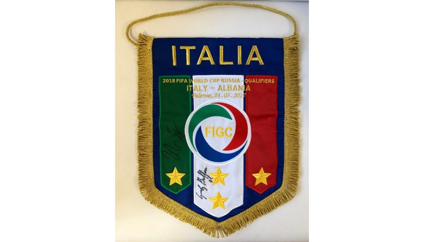 Official Pennant Italy-Albania 2017 - Signed by Buffon and De Rossi