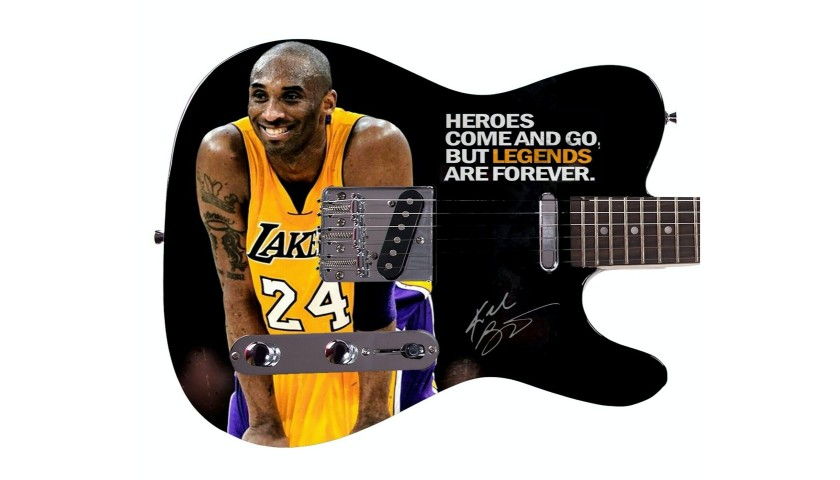 Kobe Bryant Custom Photo Guitar with Printed Signature